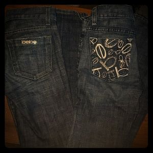 Two pairs of Bebe wide leg jeans